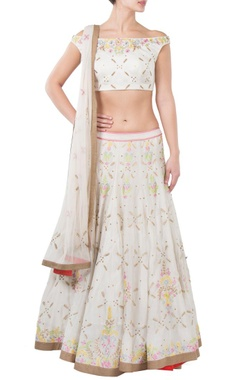 White floral embroidered lehenga set