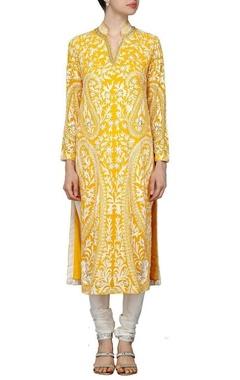 Mango yellow motif embroidered kurta set