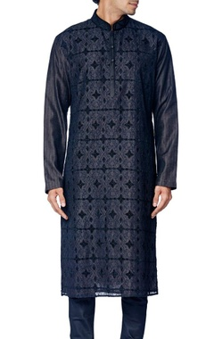 black cotton silk embroidered kurta set
