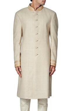 Beige linen zari embroidered sherwani
