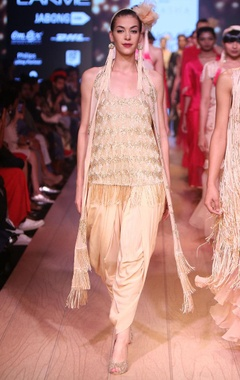 champagne embellished camisole with dhoti & scarf