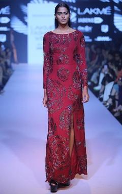 marsala rose beaded gown