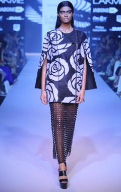 black armour midi skirt