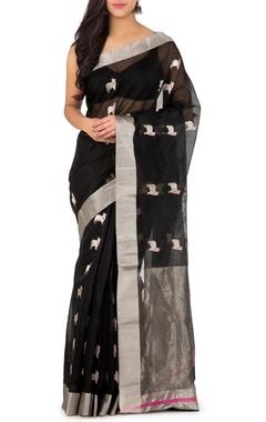 black & silver nandi chanderi sari