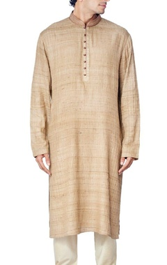 Khaki pleated kurta set