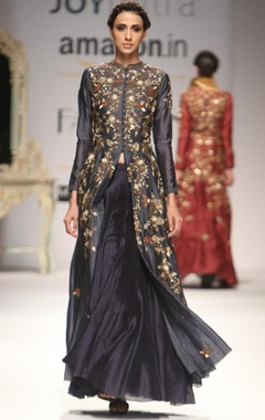 deep grey embroidered kurta with flared skirt