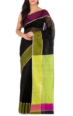 black and green chanderi sari