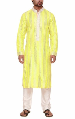 Lime green silver zari embroidered kurta set