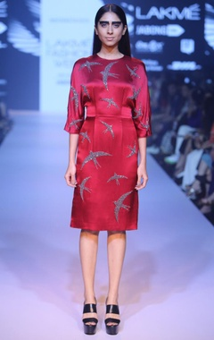 Marsala swirling swallows dress