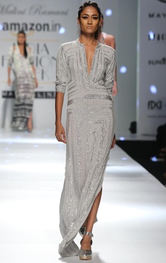 grey shimmer star column dress