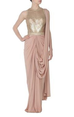 Nude faux metal embellished sari gown