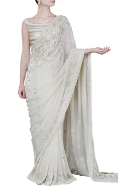 Cream floral embellished sari