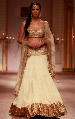 Ivory and gold embroidered lehenga set