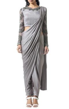 Grey beaded sari set