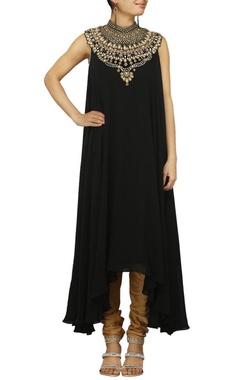 Black zardosi embroidered kurta set