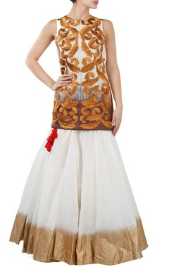 Ivory and antique gold motif embroidered lehenga set