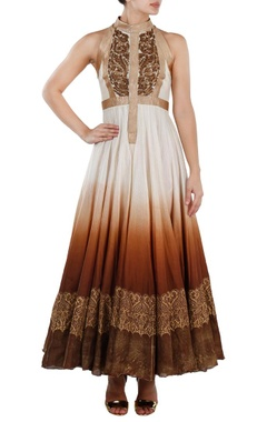 Ivory and brown ombre embroidered gown