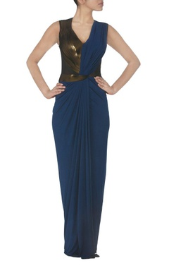 Ink blue draped faux metal maxi dress