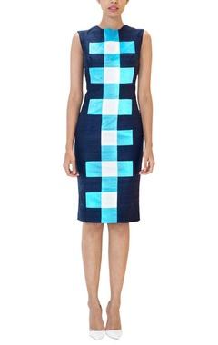 Navy blue checked sheath dress