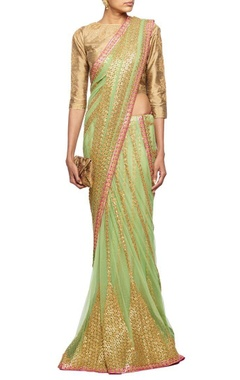 Mint green gota embroidered lehenga sari