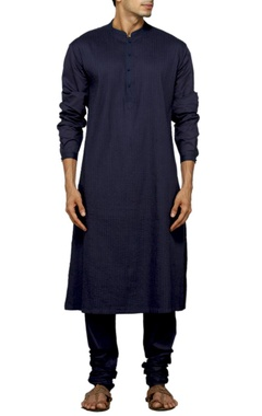 Navy blue pleated kurta set