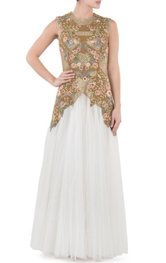 Ivory & gold floral embroidered gown
