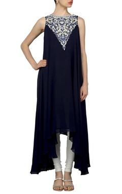Navy blue embellished kurta set