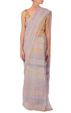 Pale grey & gold zari striped linen sari