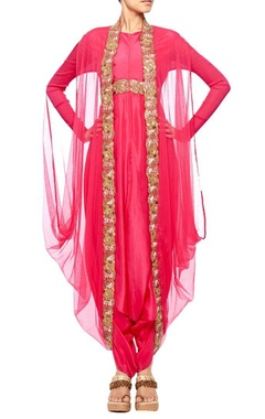 Raani pink embroidered dhoti jumpsuit with raani pink net coat