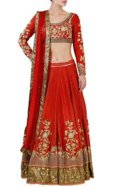 red floral embroidered lehenga set