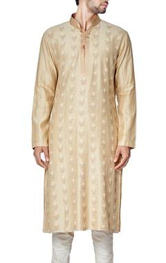 Beige cotton silk embroidered kurta set