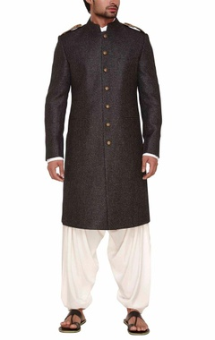 Charcoal black sherwani with ivory kurta set