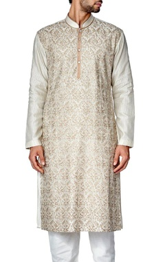 Ivory and beige embroidered kurta set