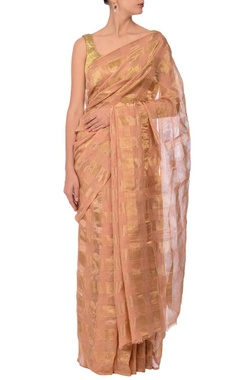 peach & gold zari checked linen sari
