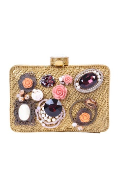 Gold embellished clutch with floral and stone
