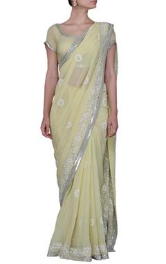 Pale lime green floral embellished sari