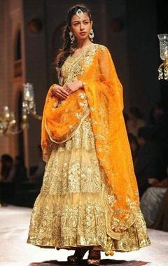 beige and orange embroidered anarkali set