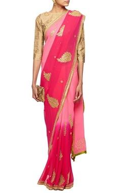 Shaded pink gota embroidered sari
