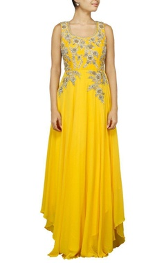 Canary yellow floral zardosi embroidered anarkali set