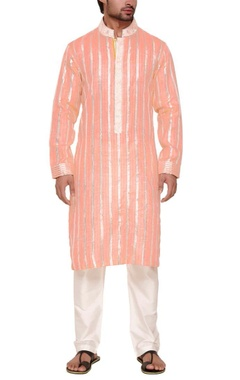Coral silver zari embroidered kurta set