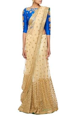 Beige gota embroidered lehenga sari