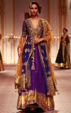 Deep blue embroidered jacket with lehenga & beige dupatta