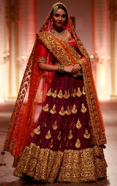 Purple embroidered lehenga set with pink blouse & orange dupatta