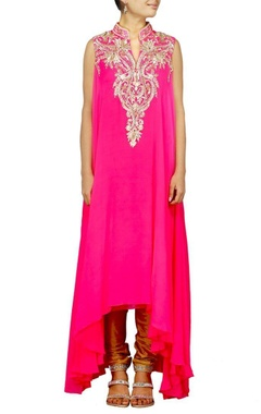 Raani pink zardosi embroidered kurta set