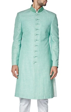 mint green chevron embroidered sherwani