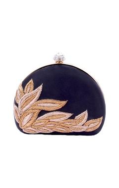 Black clutch with zardosi embroidery