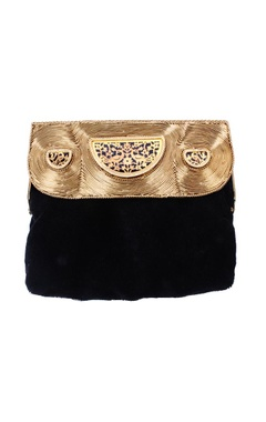 Black and gold embellished clutch