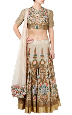 Off white floral embroidered lehenga set