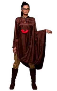 Brown tunic with khaki pants & necklace