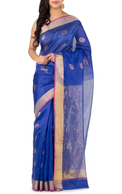Blue peacock chanderi silk sari